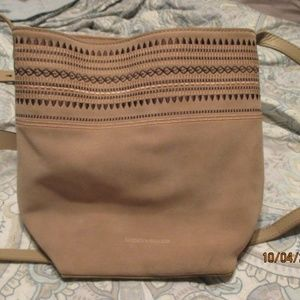 Lucky Brand Suede Tan Crossbody Embroidered